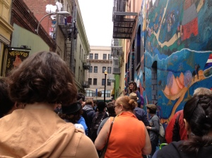 Kathryn Jaller kicking off the walking tour of North Beach with Jerry Cimino of The Beat Museum
