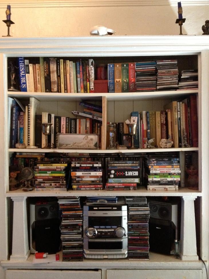 Heather's bookcase, books, clean