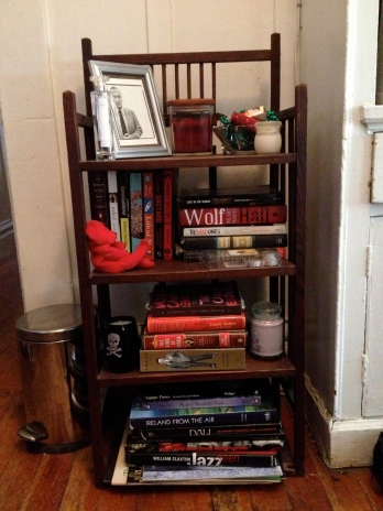 Heather's small bookcase, book, clean