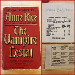 My well-worn copy of The Vampire Lestat. The back of the book describes a rock and roll star. It put me off. But then I saw Nine Inch Nails play and I thought, hmmmm, this vampire playing a musician is quite feasible. Here is the receipt from the now closed Crown Books. I was a member (it used to be free to sign up) and received 10% off. This paperback only cost $5.99 to begin with. Oh, and there's also a piece torn out of a newspaper listing all the movies playing at a Staten Island movie theater. I don't recall seeing any of the movies listed. So why did I keep this? And that movie listing would be from when an old friend lived on Staten Island after we graduated from college. So I must have been rereading it in grad school.