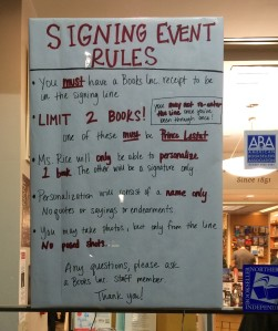 Book signing rules at Books Inc